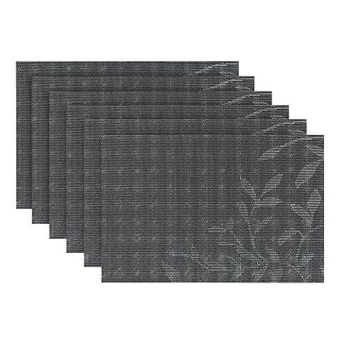 fanuk Sets de table lot de 6sets de table en vinyle tissé lavable en machine antidérapant Isolation thermique pour cuisine et salle à manger & # nitrure; Noir Feuille & #