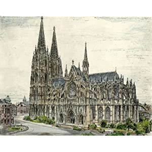 Kunstverlag Christoph Falk Handkolorierte Radierung Köln, Dom als Loses Blatt