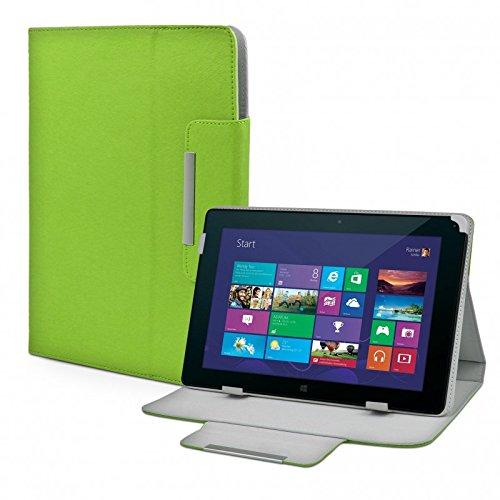eFabrik Schutz Tasche für Odys WinTab 10 Tablet-PC Schutztasche Zubehör Hülle mit Aufsteller in hochwertiger Leder-Optik grün