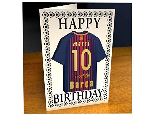 La Liga–Karte Motiv: Spanisches Fußballmannschaftstrikot, Geburtstagskarte Barcelona FC Football Team Damen Trikot Barcelona