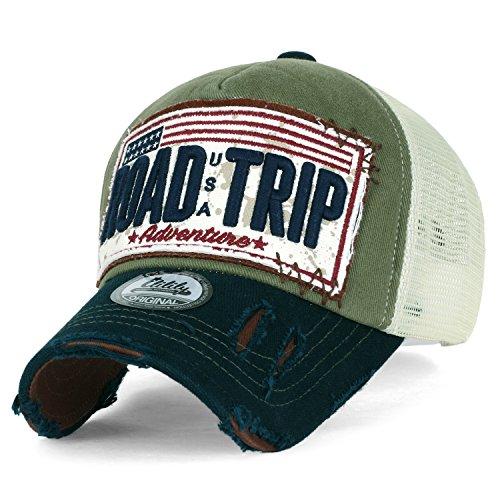 ililily Strasse Trip klassischer Stil abgenutztes Aussehen Snapback Trucker Cap Hut Baseball Cap , Olive Green (Cap Olive Brim)