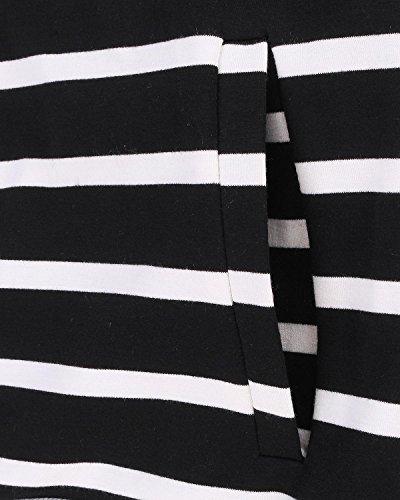StyleDome Femme Hoodies à Rayures avec Zip Manches Longues Sweat-Shirt à Capuche Noir