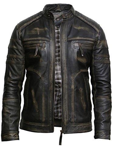 Brandslock Herren Schwarzes Warmes Leder Biker Jacke Vintage Retro Distressed Lederjacke (4XL, Schwarz)