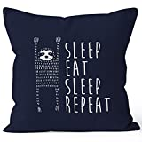 lustiger Kissenbezug Sleep eat Sleep Repeat Faultier Kissen-Hülle 40x40 Baumwolle Moonworks® navy unisize