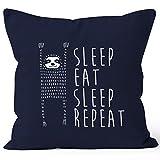 lustiger Kissenbezug Sleep eat Sleep Repeat Faultier Kissen-Hülle 40x40 Baumwolle Moonworks® navy unisize