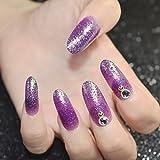 echiq violett bunt Glitzer Strass Lange Falsche Nägel klar Perle Gems Acryl Nail Tips Full-Cover künstliche Fake Nail Tipps