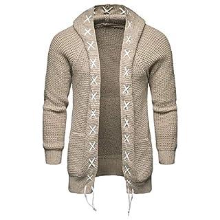 Xmiral Knit Cardigan Herren Jacke Mantel Pure Farbe mit Kapuze beiläufige Long Sleeve Outwear (M,Beige)