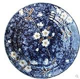 HANLEILE Blau gemaltes Keramikgeschirr Underglaze Farbe ändern Kirsche Deep Dish Dish Dish 20Cm Home Plate, U