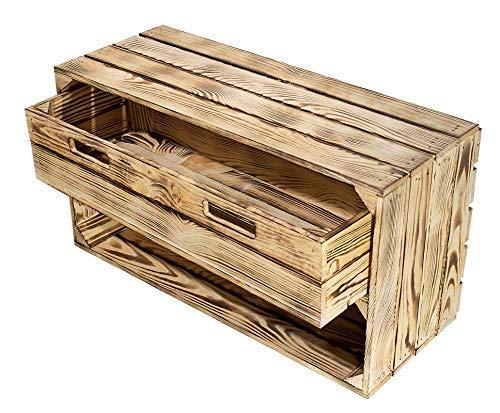 Kontorei® geflammte/braune Kiste mit Schublade 75cm x 40cm x 31cm 1er Set Schuhregal Regal Holzkiste Ablage