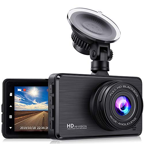 Carigogo Dash Cam 1080P FHD Dashcam for Cars with 3 Inch LCD Screen 170° Wide Angle, G-Sensor, WDR, Loop Recording, Parking Monitor, Motion Detection