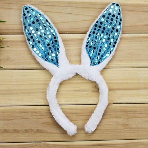 Izhiheng Schöne Osterhasen Hasen Ohren Haarband Kostüm Sequin Party Kids Girls Dekor(None - Baby Blue Bunny Kostüm