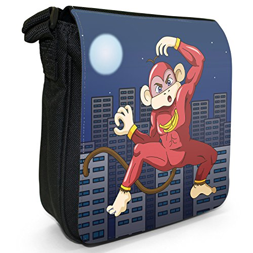Superhero Action Hero Animals-Borsa a tracolla in tela, piccola, colore: nero, taglia: S Nero (Super Banana Ninja Monkey)