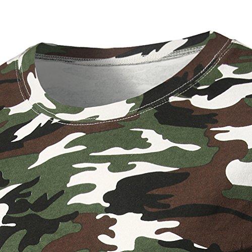ZhiYuanAN Herren Oversize Camouflage T-Shirt Rundhals Kurzarm Military T-Shirts Outdoor Freizeit Loses Tee Shirt Tops Camouflage Grün