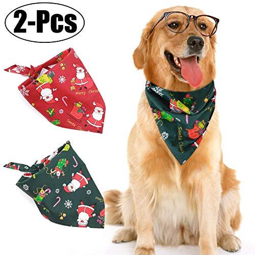 MCdream - Bandanas para Perro, pañuelo de Navidad, Lavable, Reversible, Ajustable, triángulo, Bufanda, Bufanda, Lazos para Mascotas y Gatos, 2 Unidades