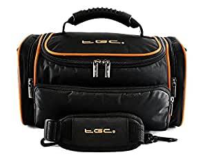 TGC ® Large Camera Case for Canon LEGRIA HF G25, G30 Plus Accessories (Black with Hot Orange Trims/Lining)