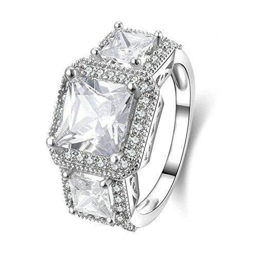(Custom Ringe)Adisaer Ring Silber 925 Damen Drei Kristall Platz Zirkonia Verlobungsring Größe 65 (20.7) Kostenlos Gravur