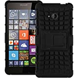 Black XYLO-SHOCK Gel Skin With Reinforced Hard Case / Back Cover for the Microsoft Lumia 640 LTE with Viewing Stand. Includes ClearICE Screen Protector.