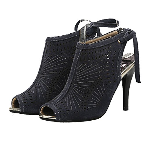 UH Femmes Sandales Slingback Peep Toe Suede Creux de Lacets Elegantes et Beaux à Talons Haut Aiguille Gris