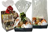Paquet de 10 sacs transparents en cellophane - Sacs panier Panier à cadeaux - Emballage cadeau - Sacs sucrés - (Taille A = 21x16x60cm de haut)