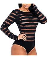 Skyblue-uk Bodysuit Women See Through Mesh Sexy Lingerie Long Sleeve Jumpsuit Leotard Bodycon Top