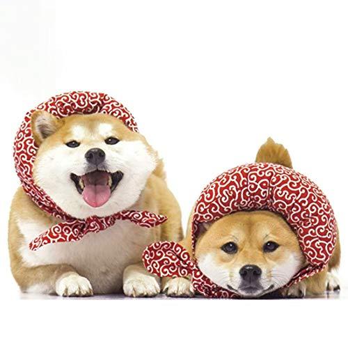 VICTORIE Japanischen Stil Hund Bandana Kragen Krawatte Halsband Fellpflege Fliege Kostüm für Hund Katze Haustier Welpen Rot M