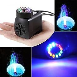 Bomba Sumergible con 12 Luz de LED Colorido ,GOCHANGE 220V,15W,800L/H, H Altura 1.6M/Aguas Limpias Bombeo para el Acuario,Estanque Hidropónico,Fuente,Estanque,etc.(Dimension: 8 * 7 * 5cm)