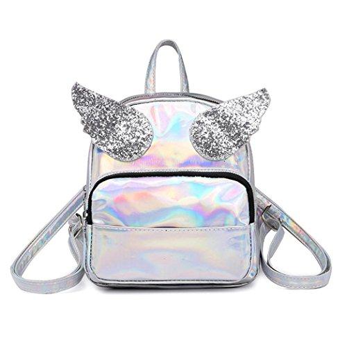 Beikoard vendita calda borsa a tracolla di trave delle donne del sacchetto della scuola di zaino della borsa della scuola della ragazza di squins del laser della ragazza di modo (argento, moda)