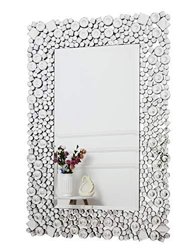 RICHTOP Espejo de pared - Rectangular Crystal Jewel Mosaic Espejo montado en la pared para sala de estar, dormitorio, tocador 60cm x 90cm