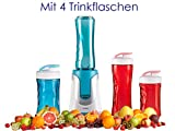 Family Smoothie-Maker 300W Rot, 4 Flaschen (300ml & 600ml je 2 in Rot & Blau)
