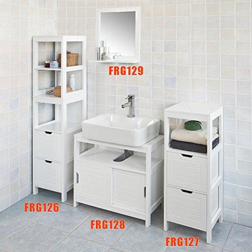 SoBuy Specchio da Bagno con mensola, Scaffale da parete,bianco ...
