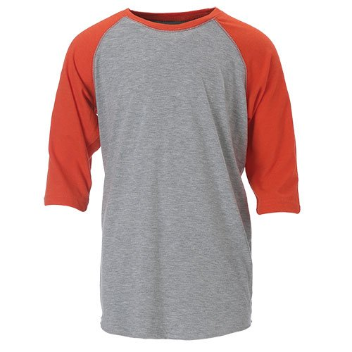 Ouray Sportswear Vintage 3/4 Sleeve Baseball Tee, Vintage Heather/Vintage Orange, Small -