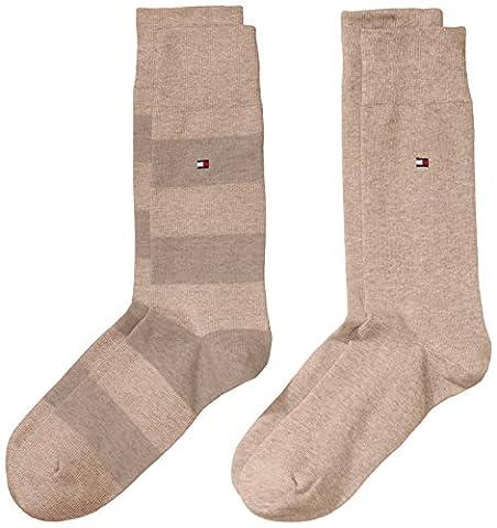 Tommy Hilfiger Herren Socken TH MEN RUGBY, 2er Pack, Gr. 43/46, Beige (light beige melange 369)