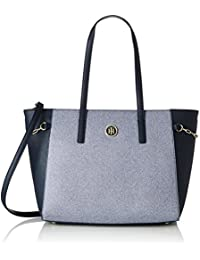 Tommy Hilfiger TH Chain Medium Chambray, Sac Femme, Multicolore (Chambray / Midnight), 12 x 26 x 32 cm