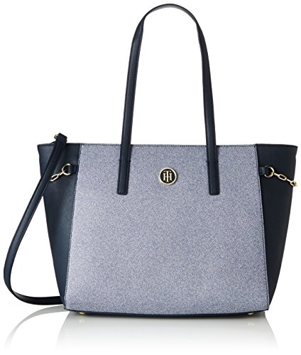 tommy-hilfiger-damen-th-chain-medium-chambray-tote-mehrfarbig-chambray-midnight
