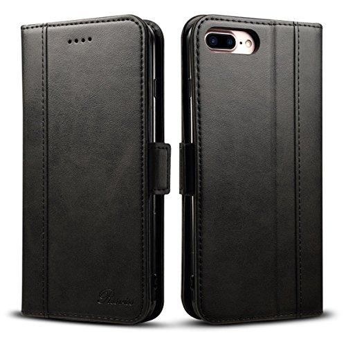 iphone 7 Plus hülle tasche - Rssviss Handyhülle Leder Flip Case Brieftasche Etui Schutzhülle [4 Kartenfächer ] [Handy Ständer] mit [Magnetverschluss ] Cover für iPhone 7/8 Plus, 5.5 Zoll , Schwarz (W3)