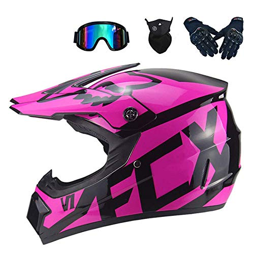 XUDONG Motorrad Crosshelm für Damen, Motocross-Helm-Set (4-teilig) mit Schutzbrillen-Handschuhmaske, Vollgesichts-Mountainbike-Helm Motorrad-Offroad-Sturzhelm, 2 Modelle,Pink, M