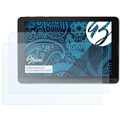 Bruni Schutzfolie für LG G Pad X II 10.1 UK750 Folie, glasklare Bildschirmschutzfolie (2X)