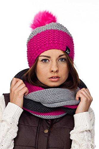 Kombiset Mütze mit Bommel Loopschal Mützenset Schal und Mütze Schalset(Pink/Grau)