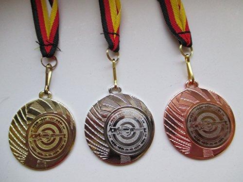 Fanshop Lünen Medaillen Set - aus Stahl 40mm - Gold, Silber, Bronze - Armbrust - Schützen - Schütze - Medaillenset - mit Emblem 25mm - Gold, Silber, Bronce - mit Medaillen-Band - (e262) -