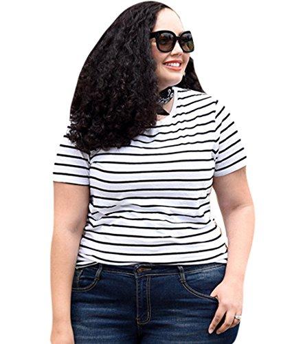 Heheja Femme Grandes tailles Femme Col Ras Du Cou T-shirt Rayé Blouse Manches Courtes Tops 3XL