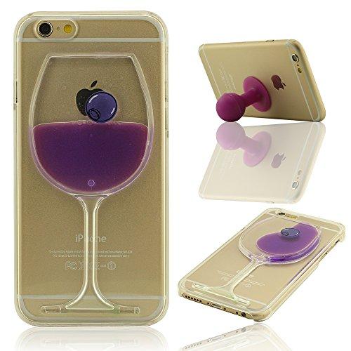 Giallo Liquido Case Cover per iPhone 6 Plus, iPhone 6S Plus Custodia (5.5 Pollici) + Morbido Silicone Staffa di Supporto, Frutta e Colorato Liquido Stile, Equisite Calice Modellazione, Duro Trasparent Porpora