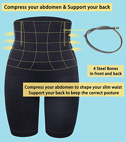 MISS MOLY Damen Figurenformend Miederpants Miederslip Bauch Weg Miederhose Hohe Taille Taillenformer Shapewear mit Bein 4X Stäbchen ShapePants Body Shaper - 3