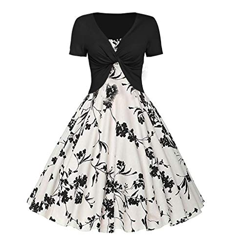 UYSDF Fashion Kleidung Damen Sommer Frisch Blumen Drucken Kleid Schlinge Zur Seite Fahren Zwei Stück (Frische Kostüm)