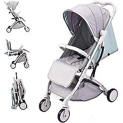 Carro de bebé Silla de paseo ligera y compacta,cochecito de portátil,plegable con una mano,arnés de cinco puntos,ideal para Avión (Verde)