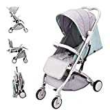 Lightweight Stroller,Compact Travel Buggy,One Hand Foldable,Five-Point Harness,Great for Airplane (Green)