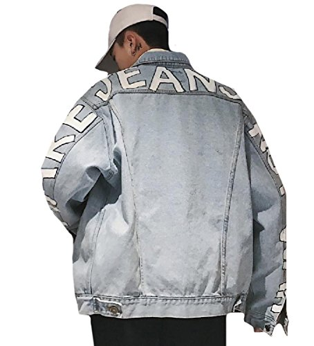 CuteRose Men's Wild Baggy Letter Printed Lounge Hip Hop Jean Jacket Coat M Blue (Knit Leather Baggy)