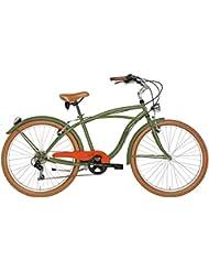 'Bicicleta Cicli Adriatica Cruiser de hombre, estructura de acero, rueda de 26, cambio Shimano de 6 velocidades, talla 45, verde militar