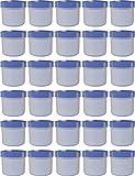 30 Salbendöschen, Creme-döschen, Salbenkruke flach, 25ml Inhalt, mit blauem Deckel - MADE IN GERMANY