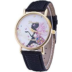 2015 new women fashion GENEVA watches ladies' watch angel quarzt watch relojes mujer 2015 PU leather casual watch clock hours