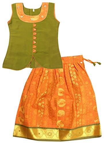Preethi Dresses Girls' Silk A-Line Lehenga Choli (PDSLGR01-7-8 Years, Green & Yellow,...